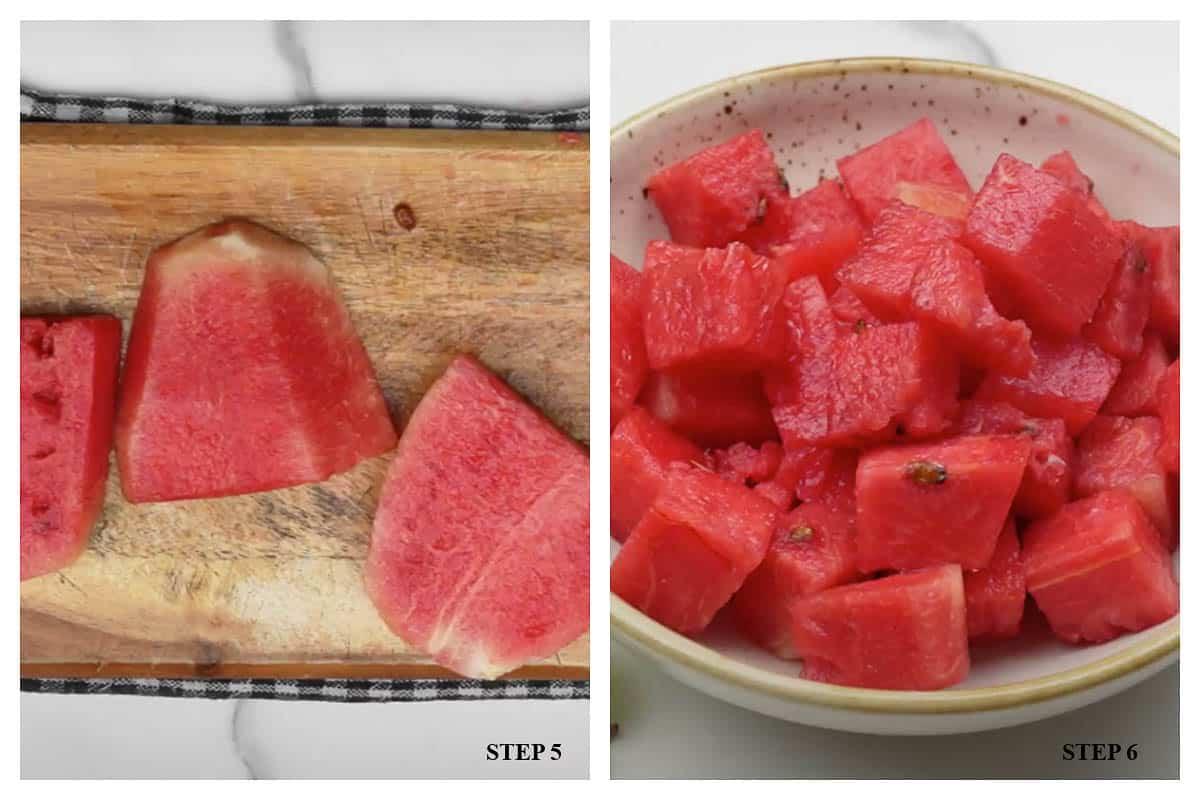 Watermelon cubes kept on a plate.