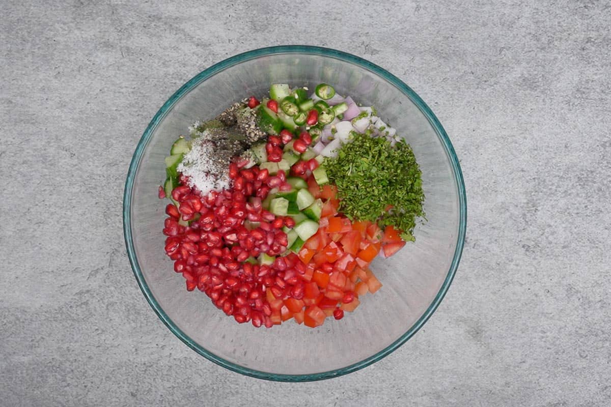 All the ingredients added to a bowl.