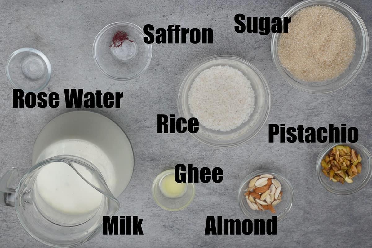Phirni ingredients.