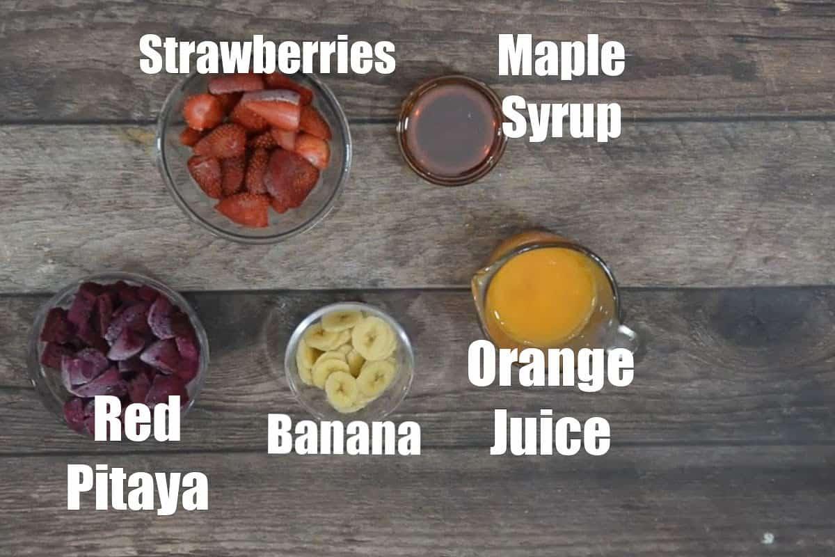 Pitaya Bowl Ingredients.
