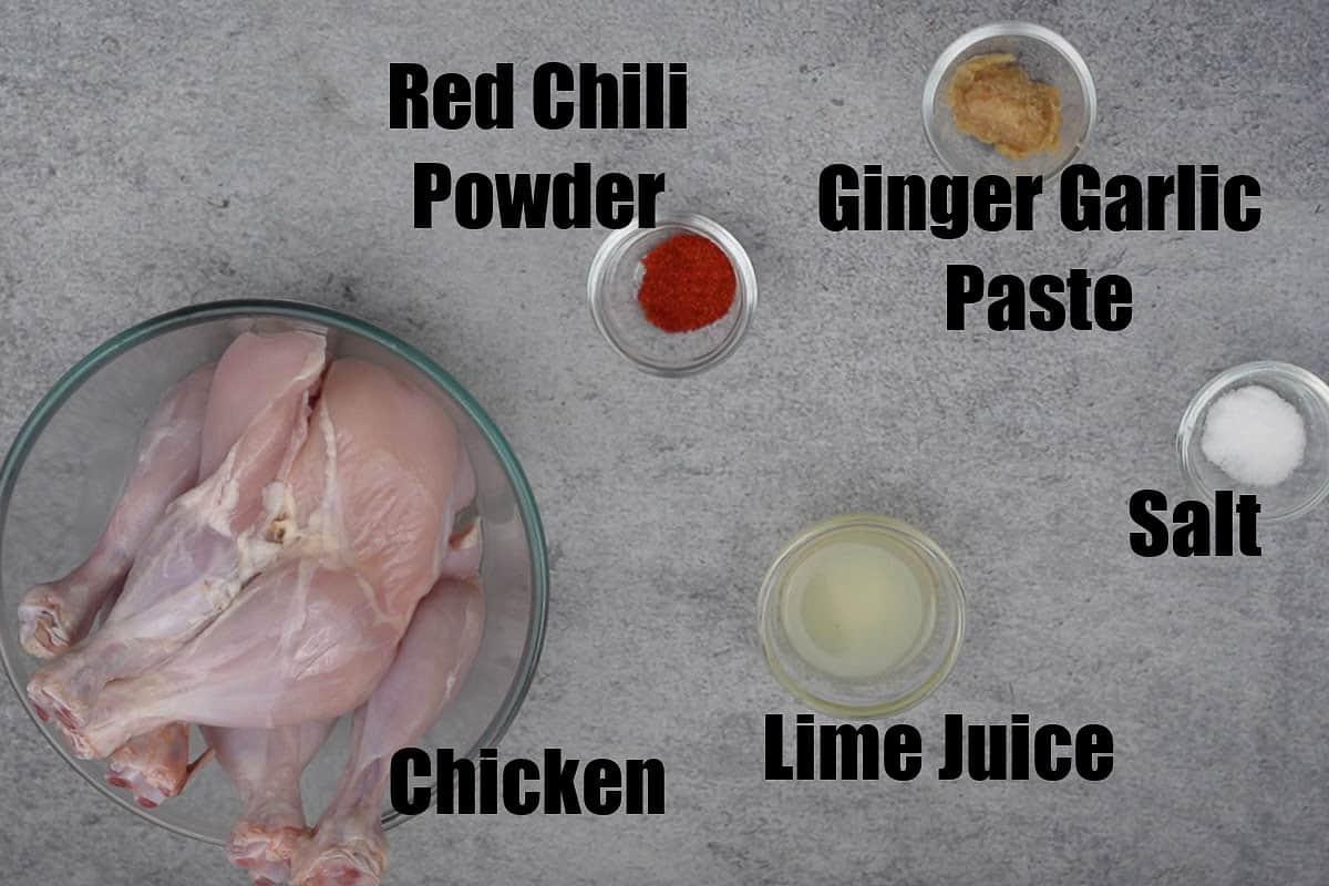 First marination Ingredients for Tandoori Chicken.