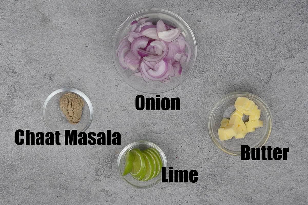 Serving ingredients for tandoori chicken.