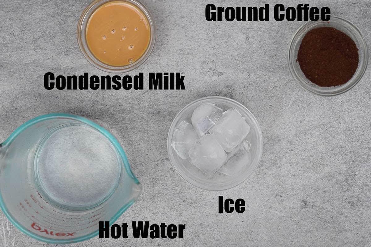 Vietnamese coffee ingredients.