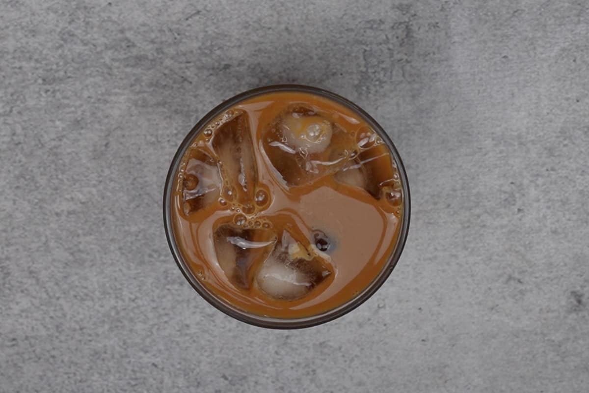 Vietnamese iced coffee in a glass.