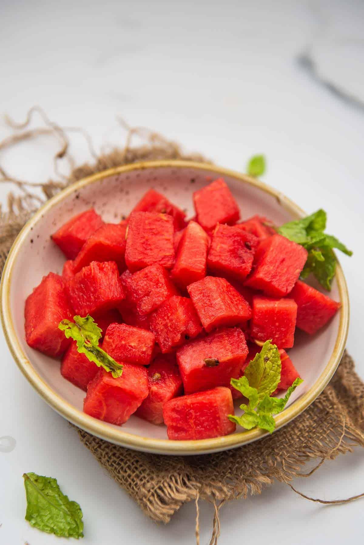 Watermelon kept in a bowl.