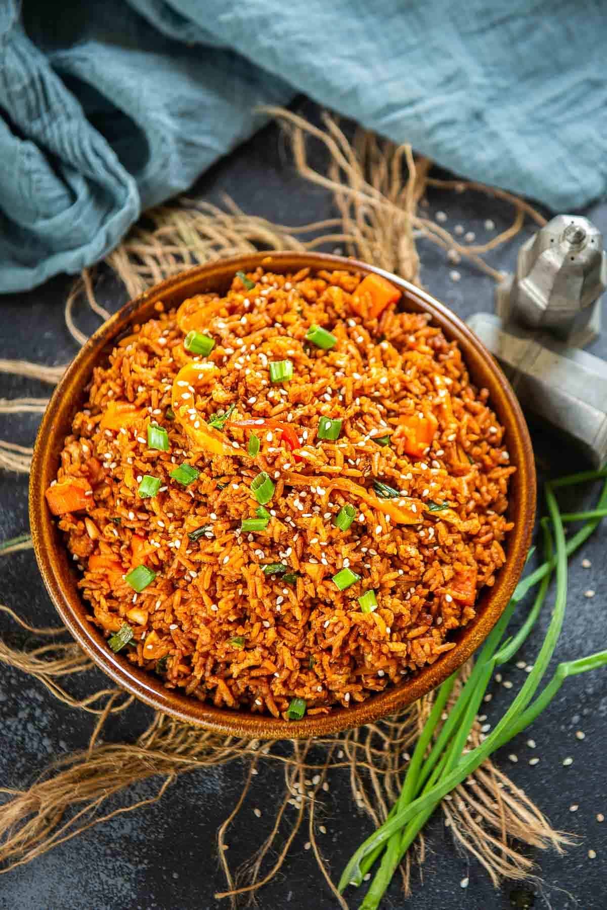 Gochujang fried rice served in a bowl.