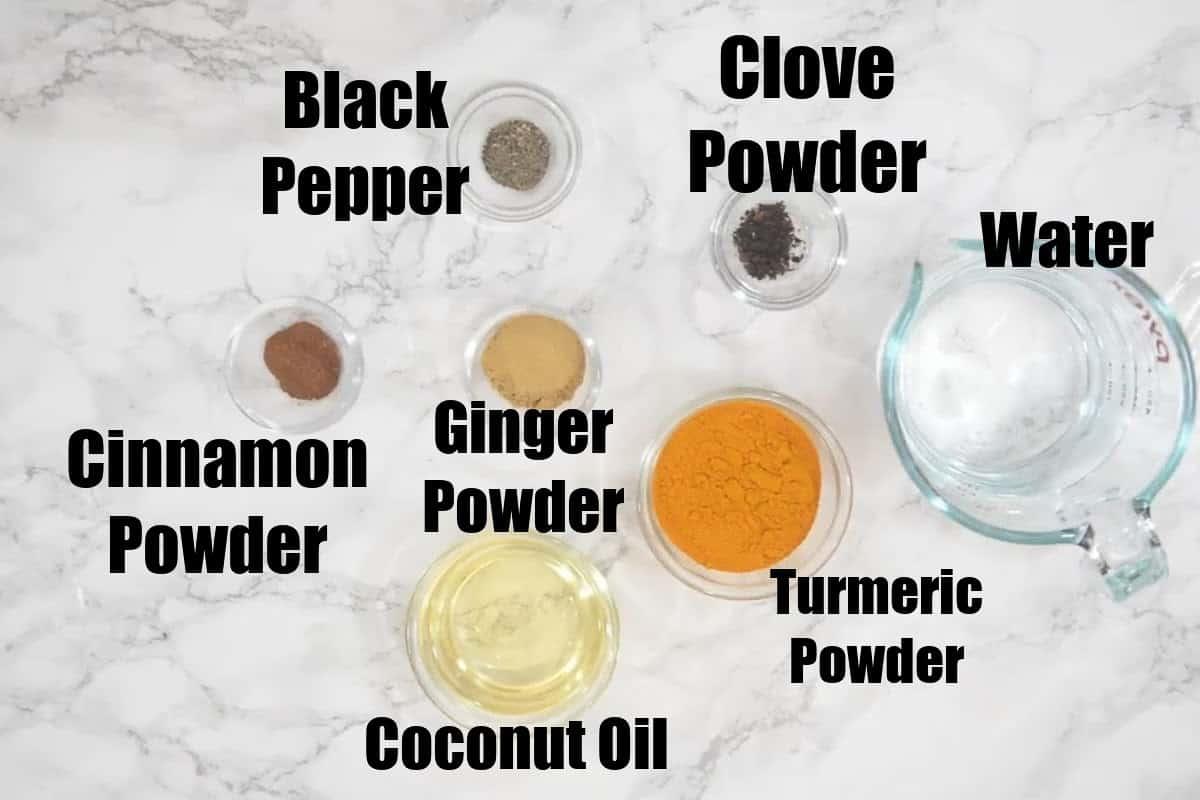 Golden Paste Ingredients.