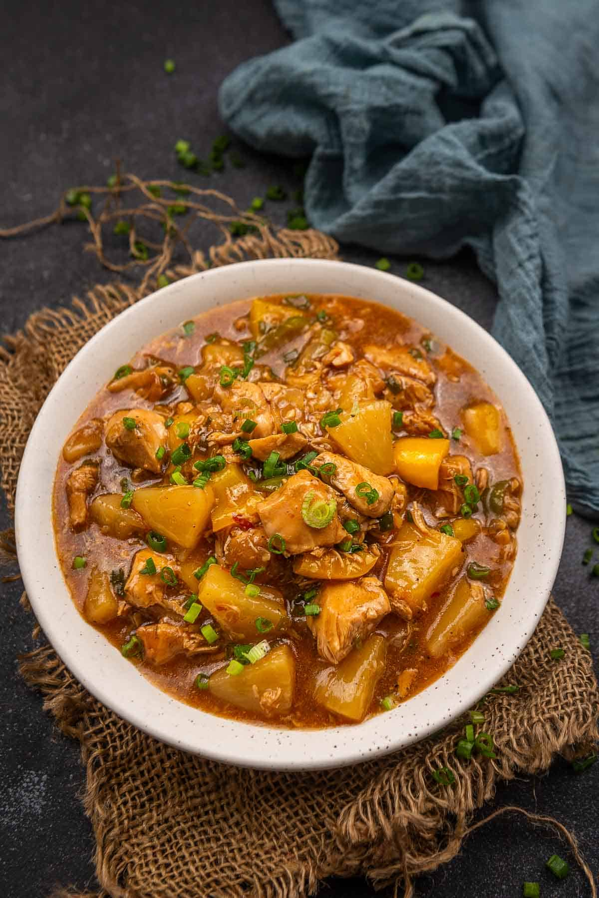 Instant pot sweet and sour chicken served in a bowl.