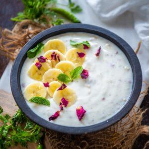 This banana raita or kele ka raita is a refreshing take on the classic Indian raita where ripe mashed bananas are added to the yogurt along with a few mild spices. Here is how to make it.