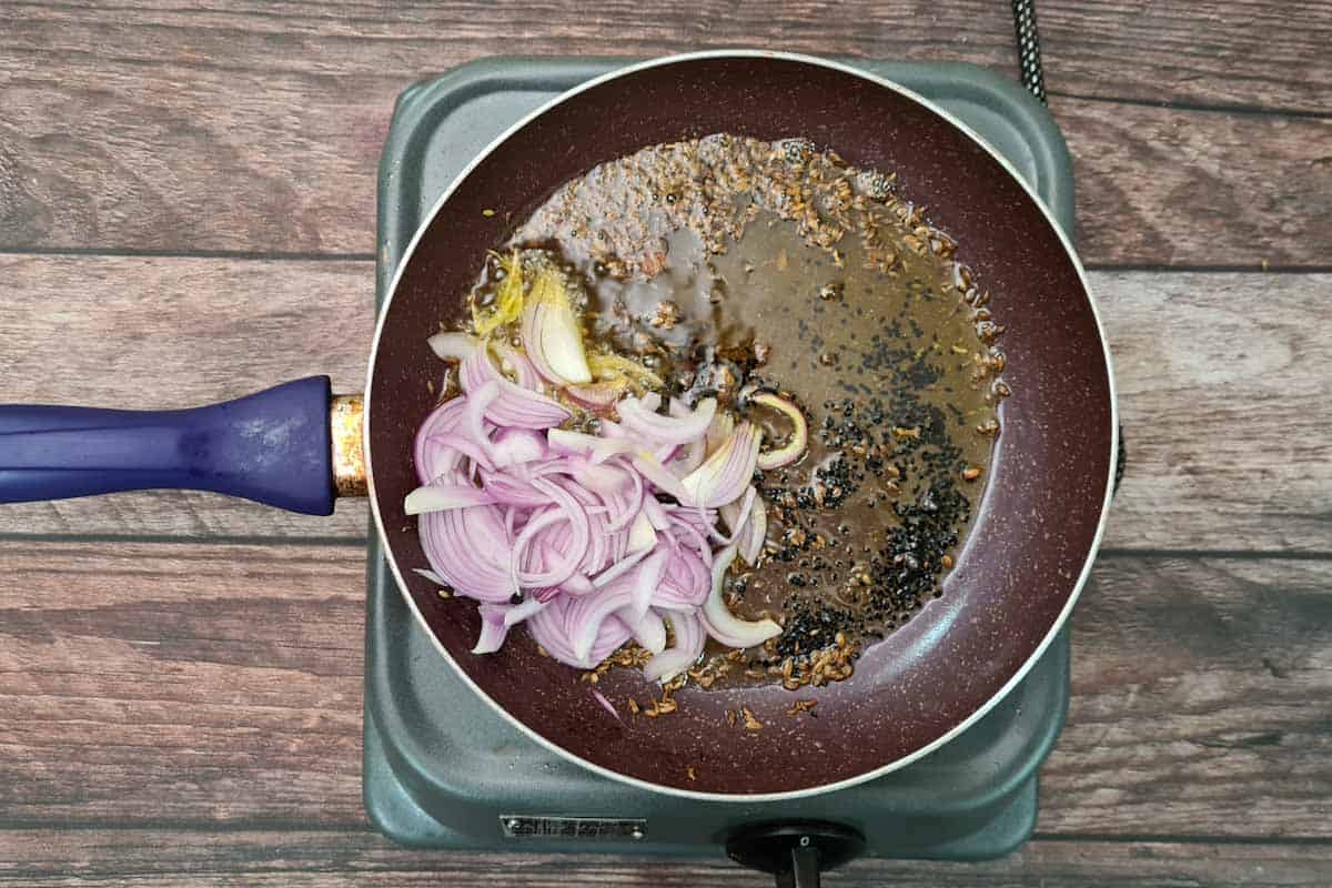 Onion added to the pan.