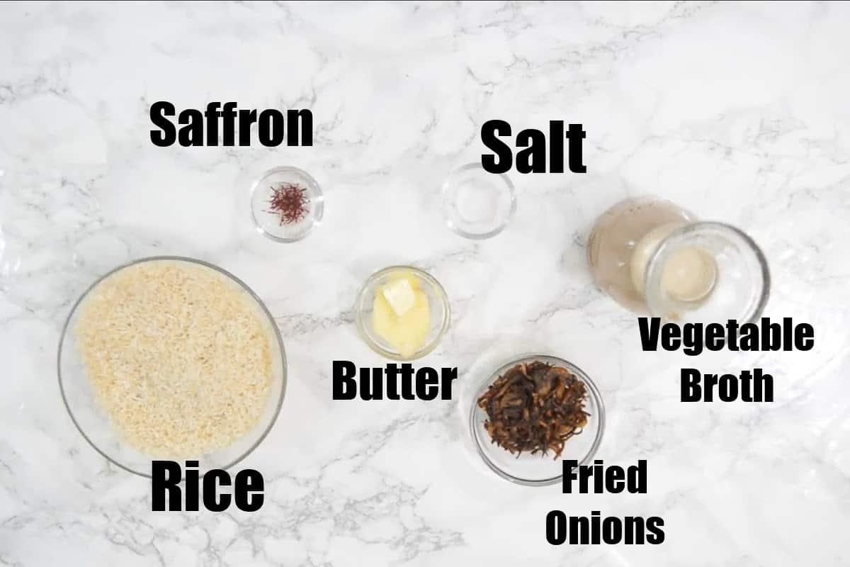 Saffron Rice Ingredients.