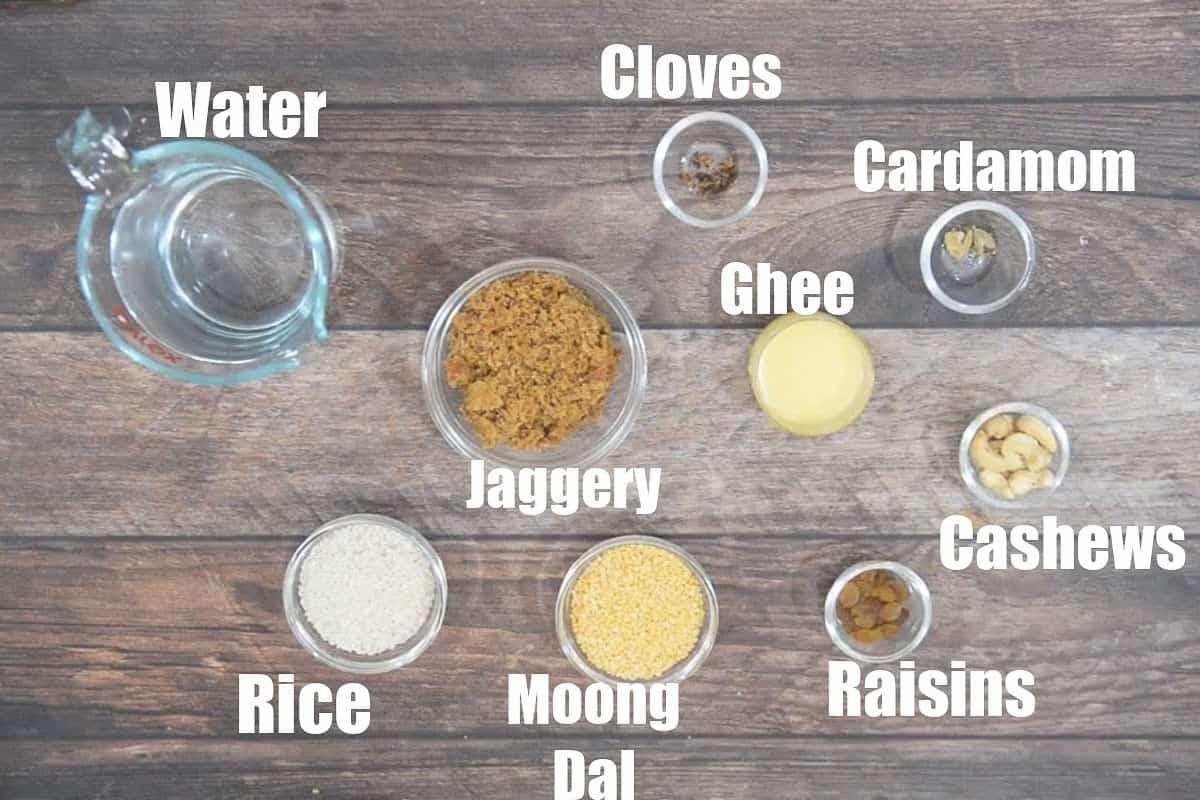 Sakkarai Pongal Ingredients.