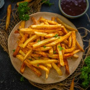 Make this easy and super crispy air fryer frozen french fries in just 20 minutes. No deep-frying makes this version of french fries much healthier and great to snack on.