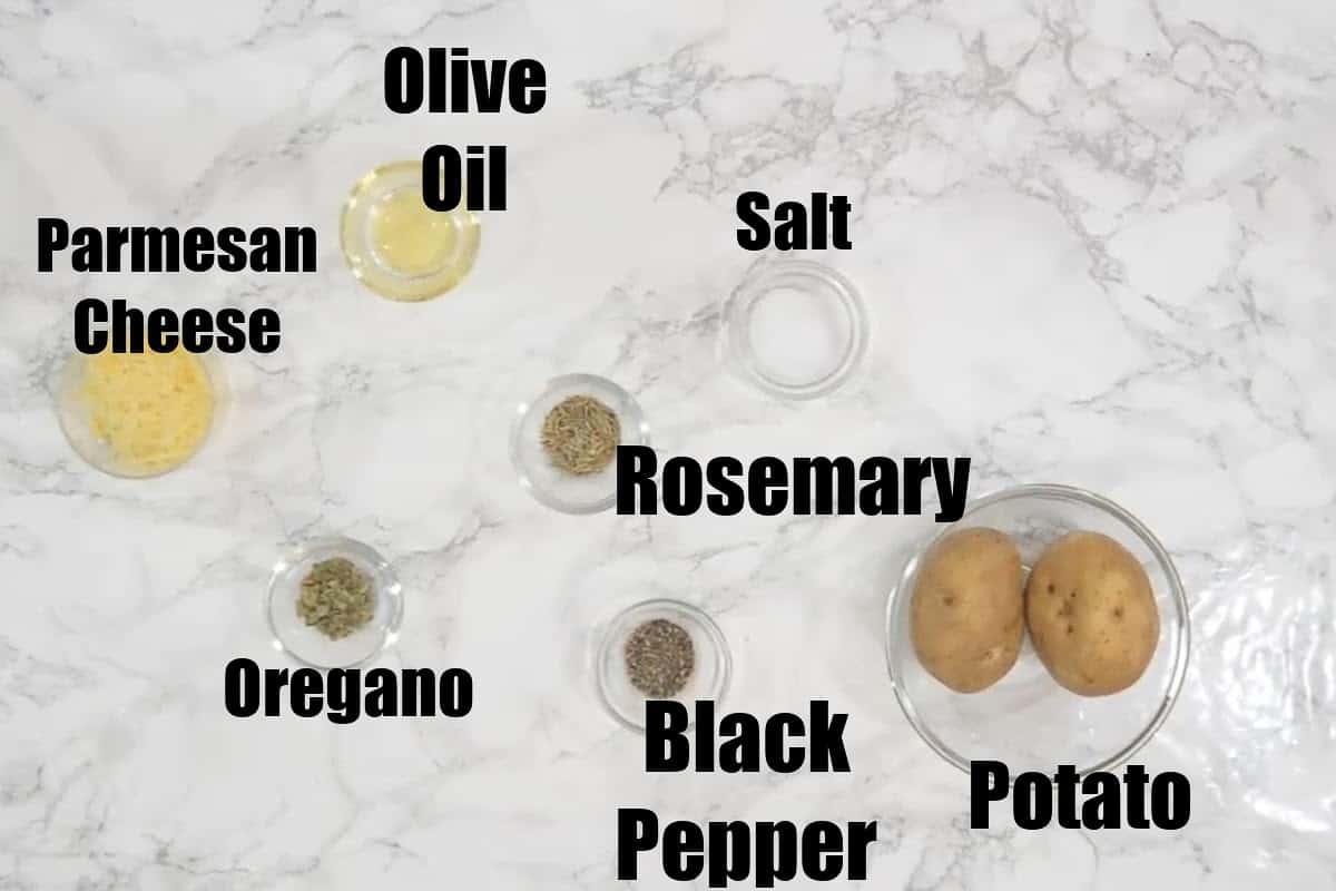 Air Fryer Potato Wedges Ingredients.