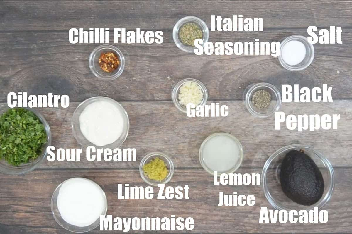 Avocado lime ranch dressing ingredients.