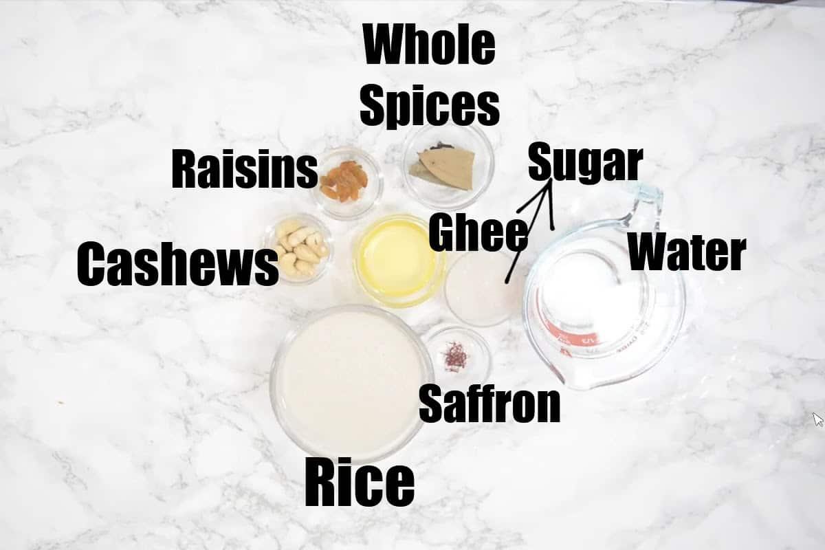 Basanti Pulao Ingredients.