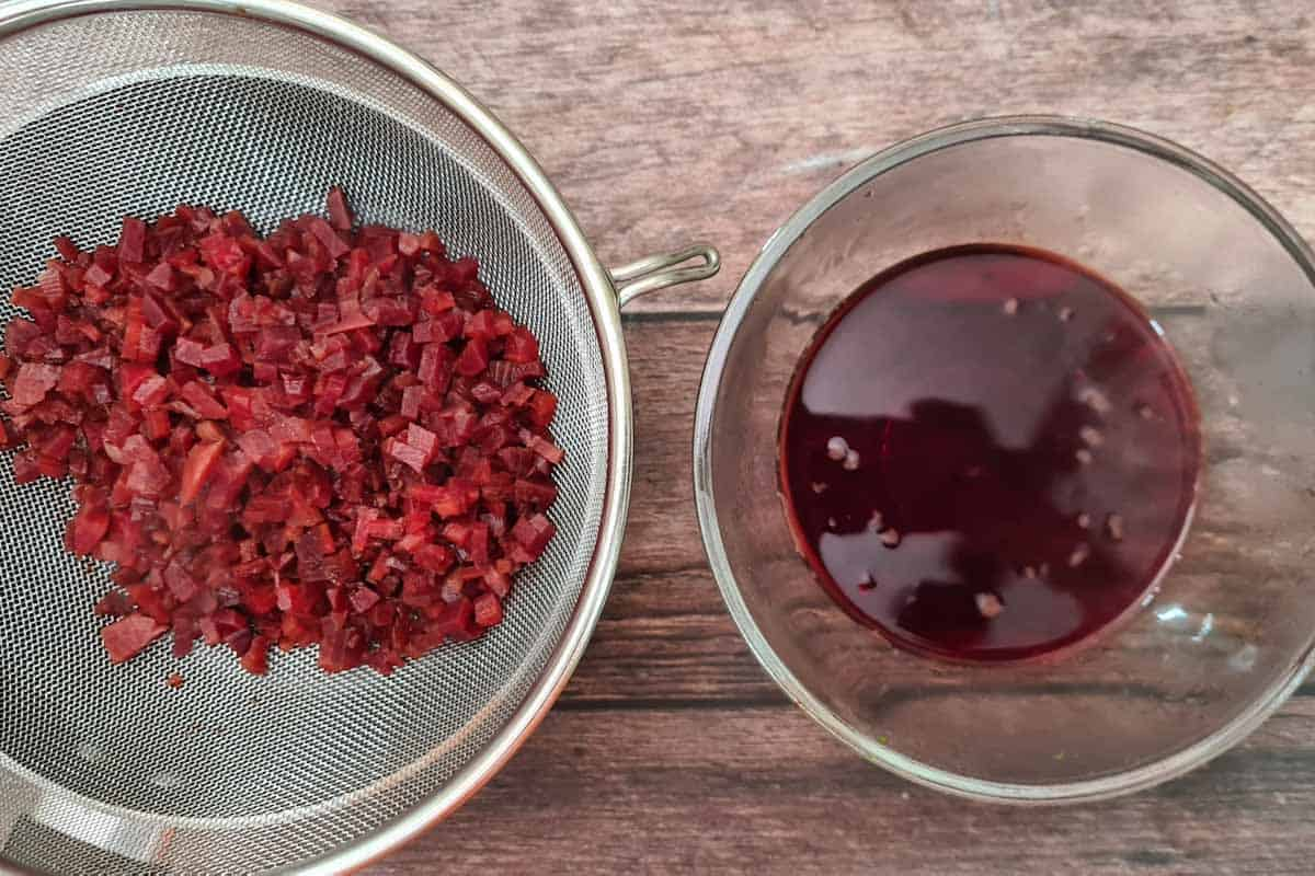 Cooked beetroot and reserve water.