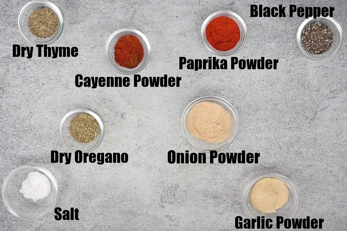 Cajun spice mix ingredients.