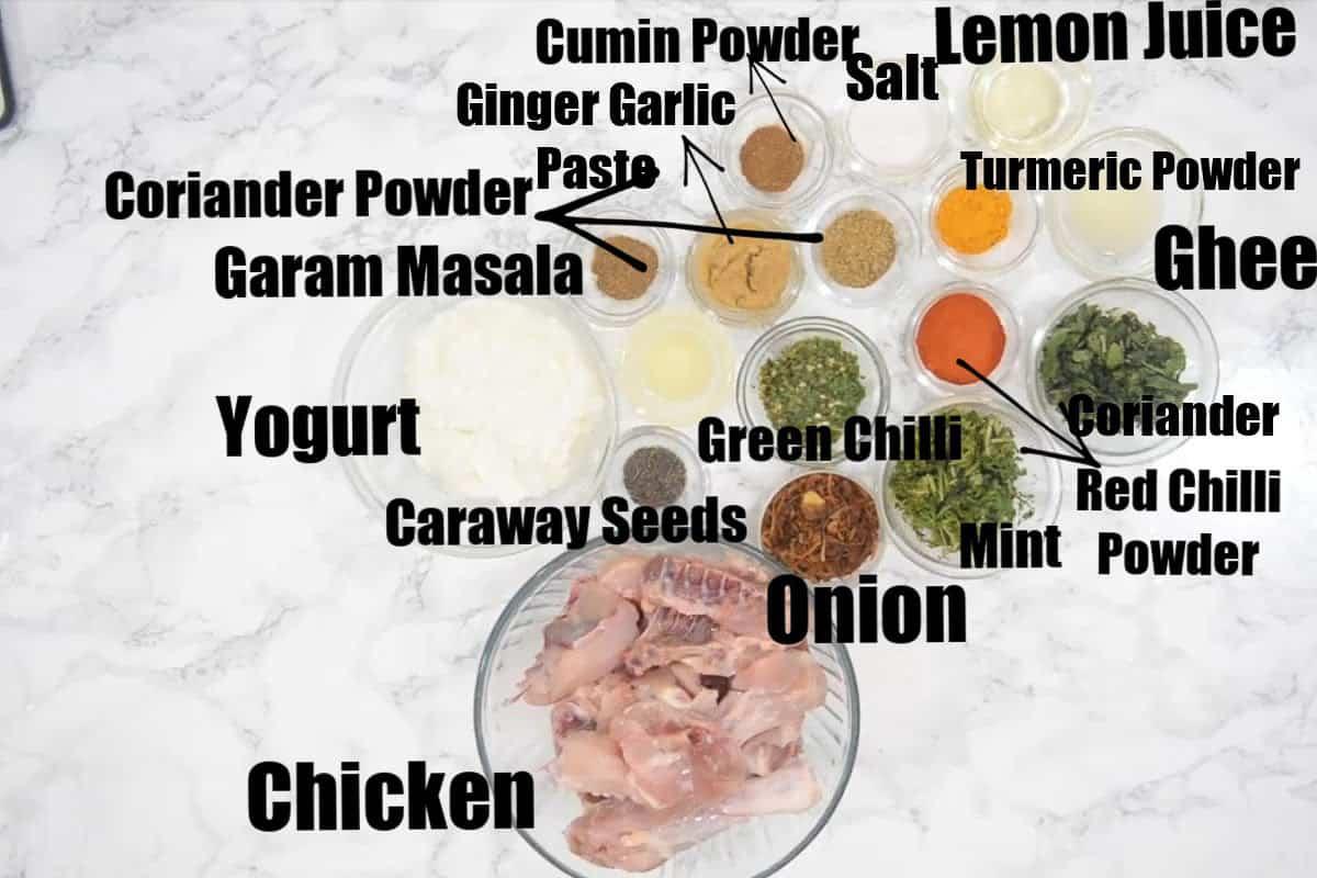 Chicken biryani marination ingredients.