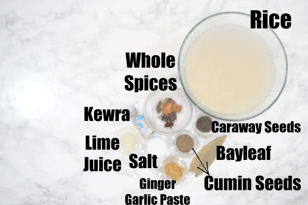 Chicken biryani rice ingredients.