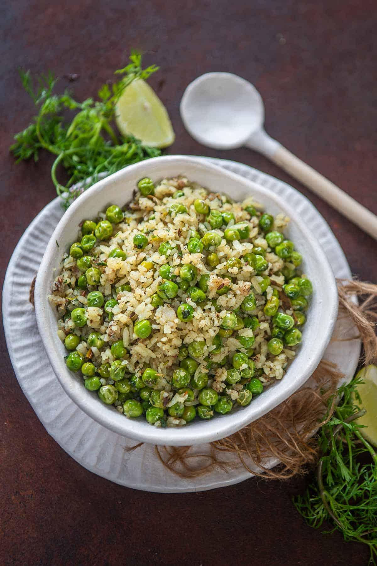 Chura Matar served in a bowl.