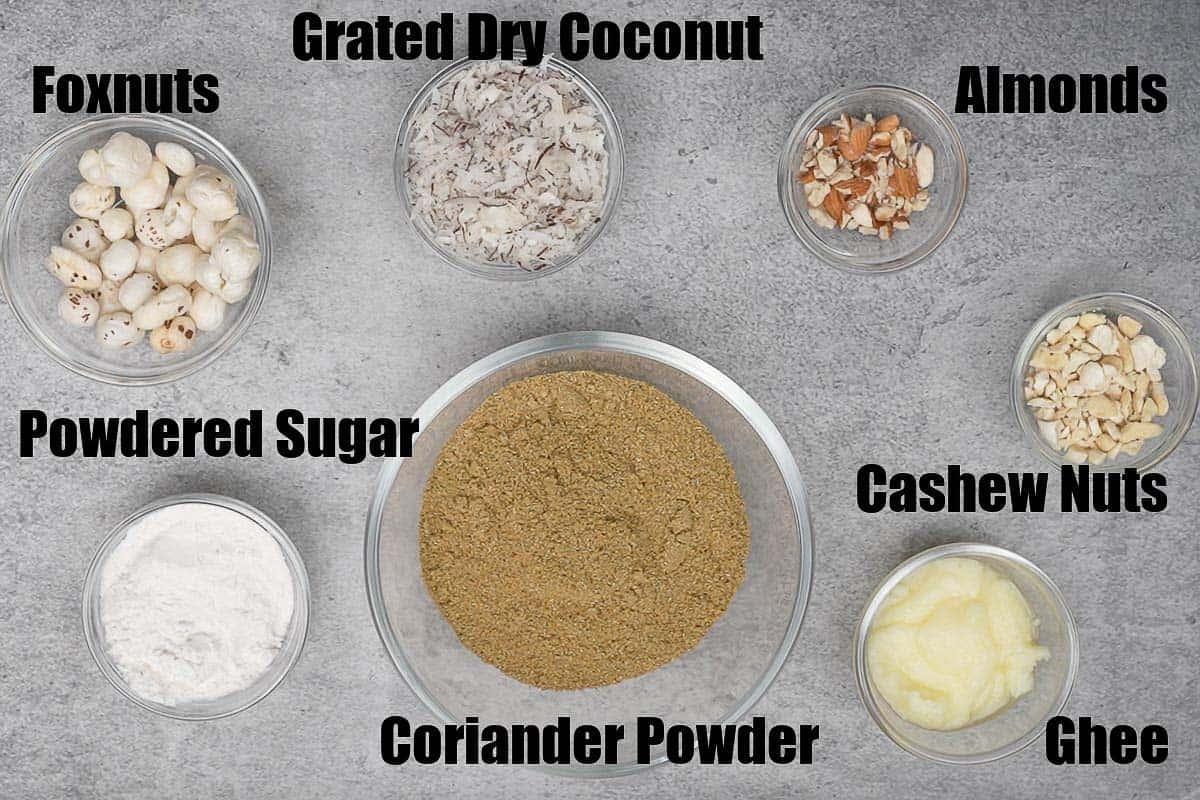 Dhaniya panjiri ingredients.