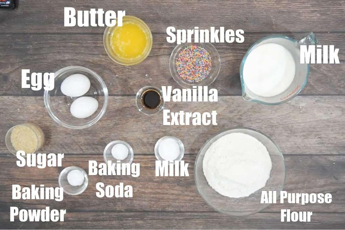 Funfetti pancakes Ingredients.