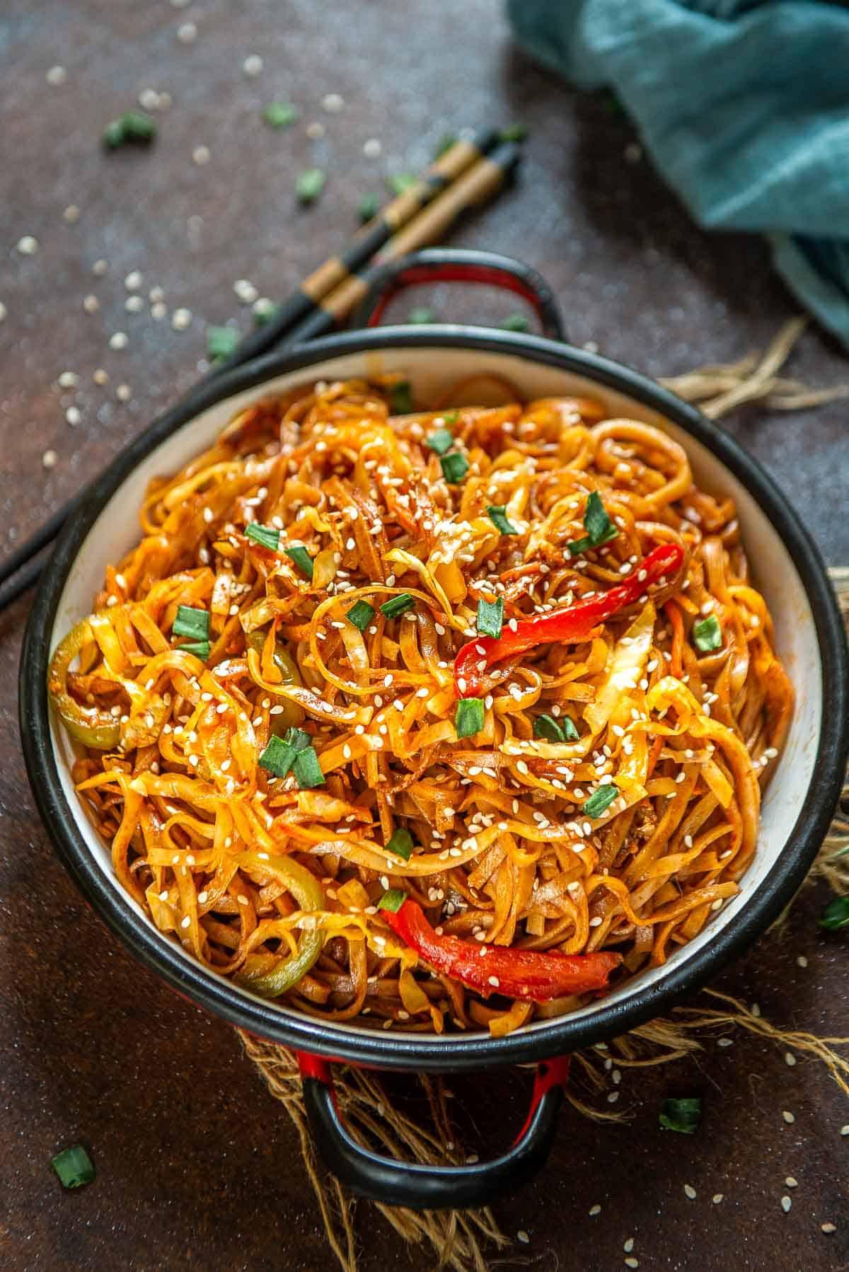 Gochujang noodles served in a bowl.