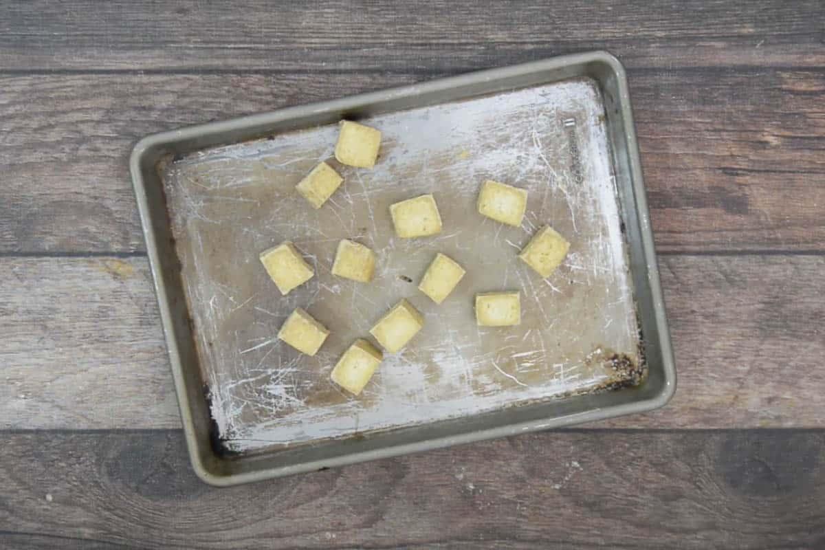 Baked tofu cubes.