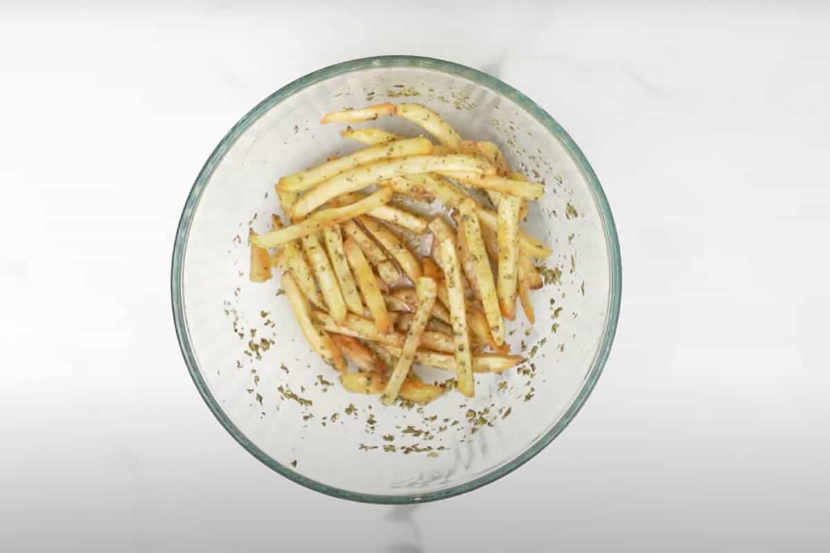 Fries tossed well.