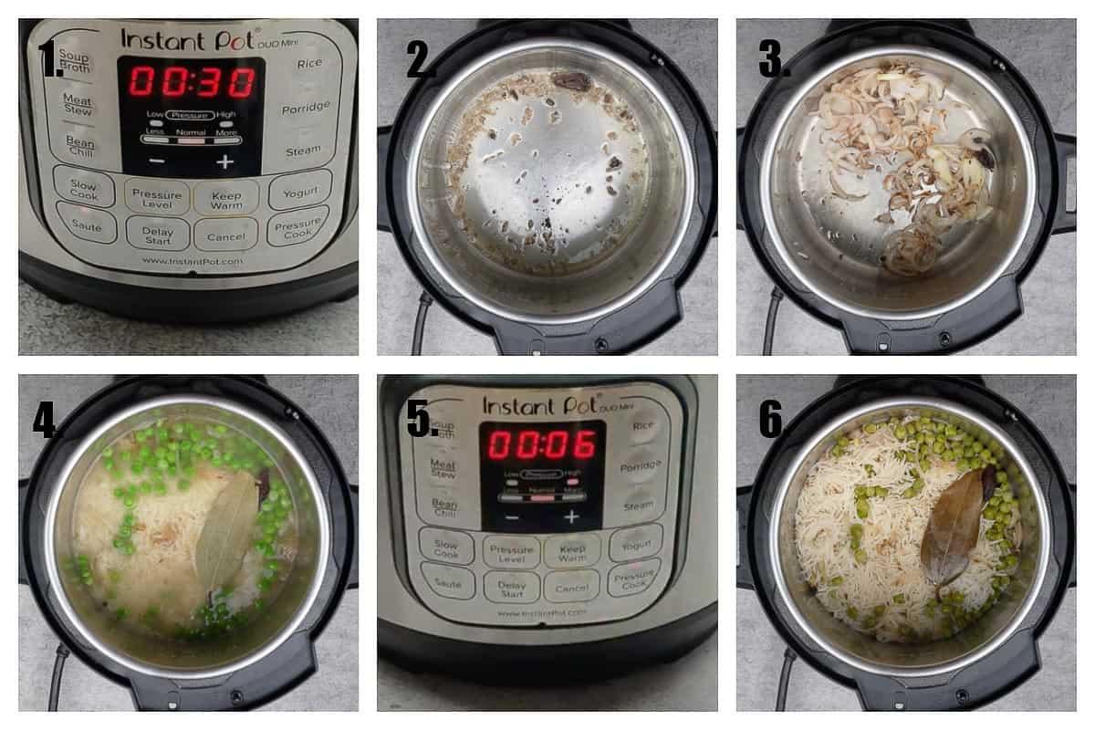Instant pot peas pulao ingredients.