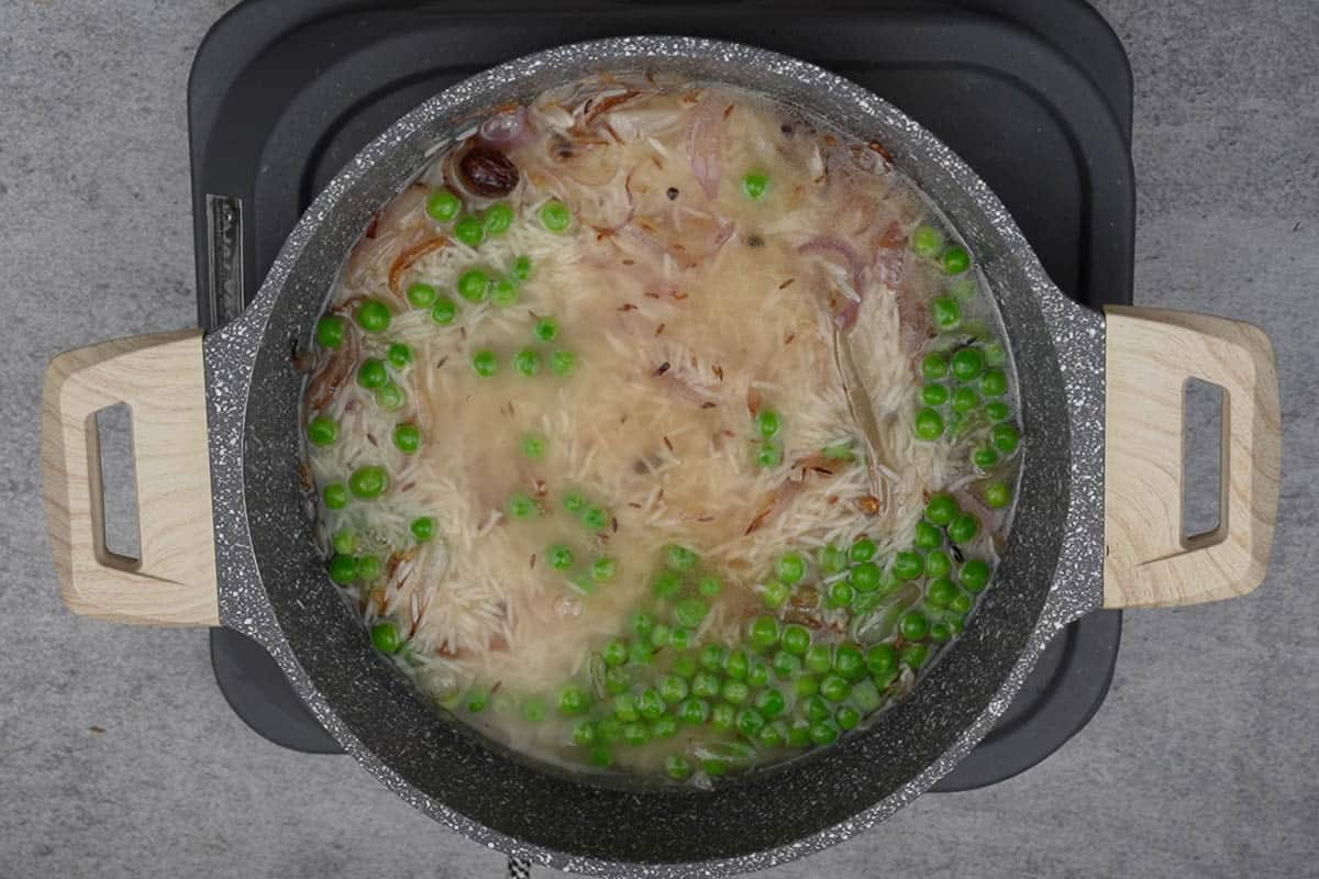 Water added to the pan.