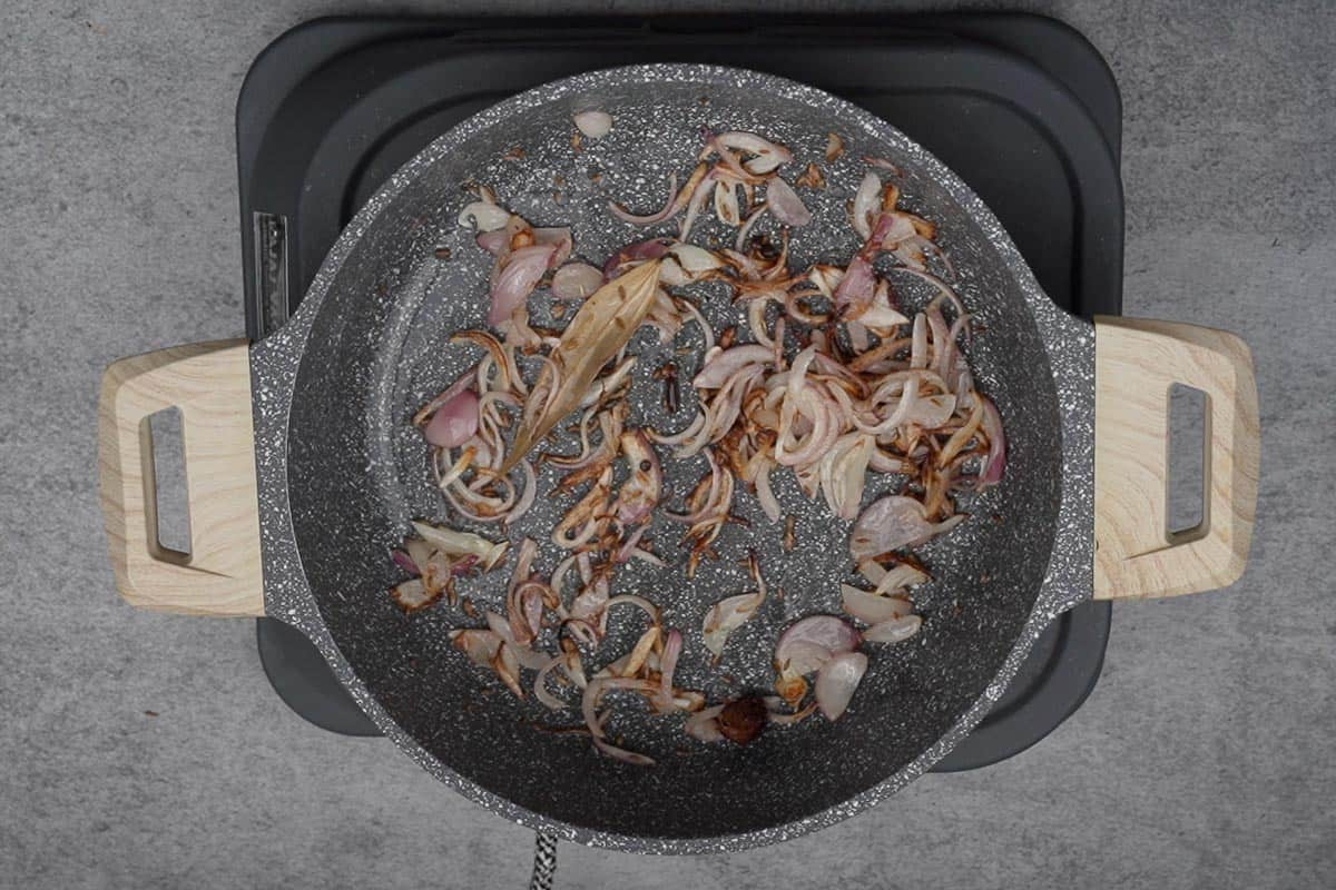 Onions fried until browned.