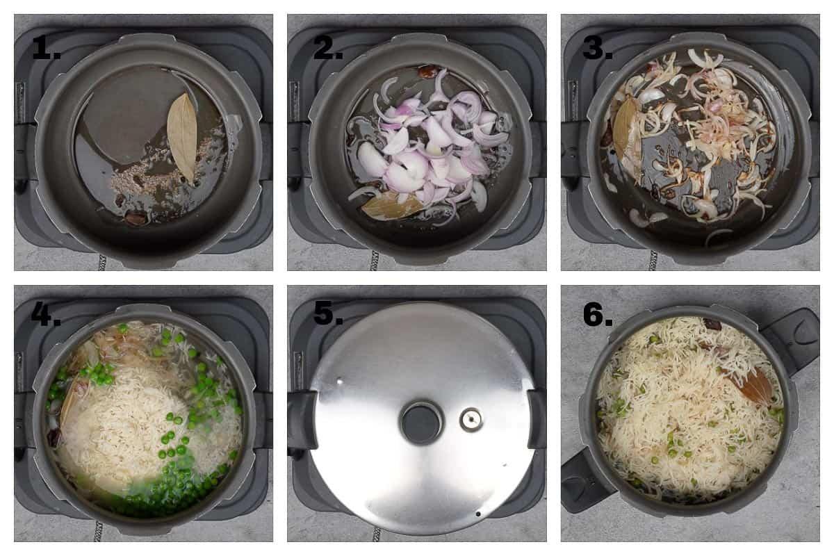 Pressure cooker peas pulao ingredients.