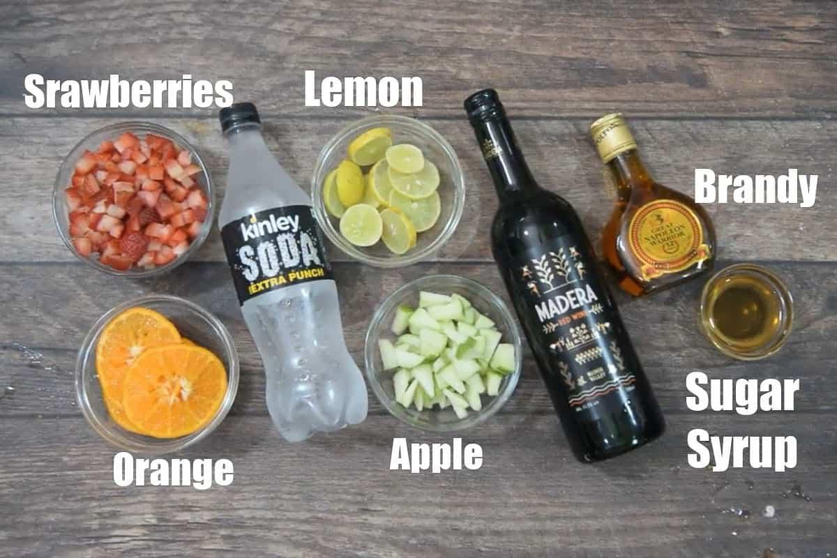 Red Wine Sangria Ingredients.