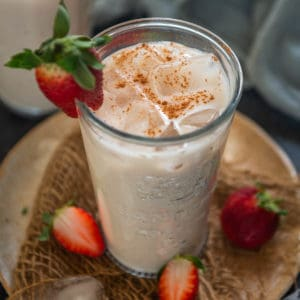 This strawberry horchata is a fun twist to the traditional horchata. Make this no-cook, rich and creamy beverage for a refreshing summer treat.