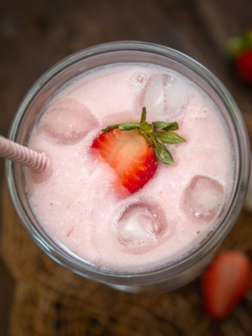 Make this 3 ingredient strawberry milk from scratch using fresh or frozen strawberries. (gluten-free and can be made vegan).