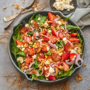 Try this sweet, savory, and tangy strawberry walnut salad this summer when fresh strawberries are in season. This nutritious salad is low-cal and comes together in just 10 minutes.