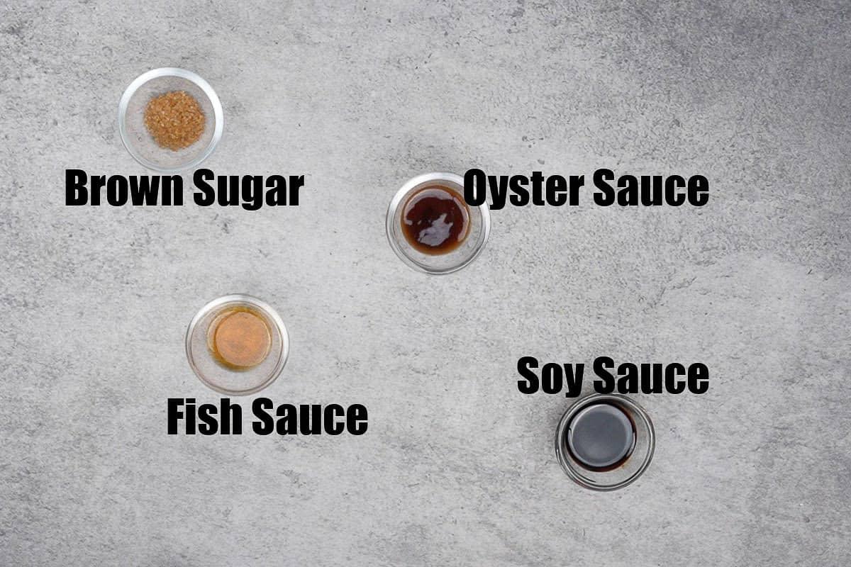 Thai fried rice sauce ingredients.
