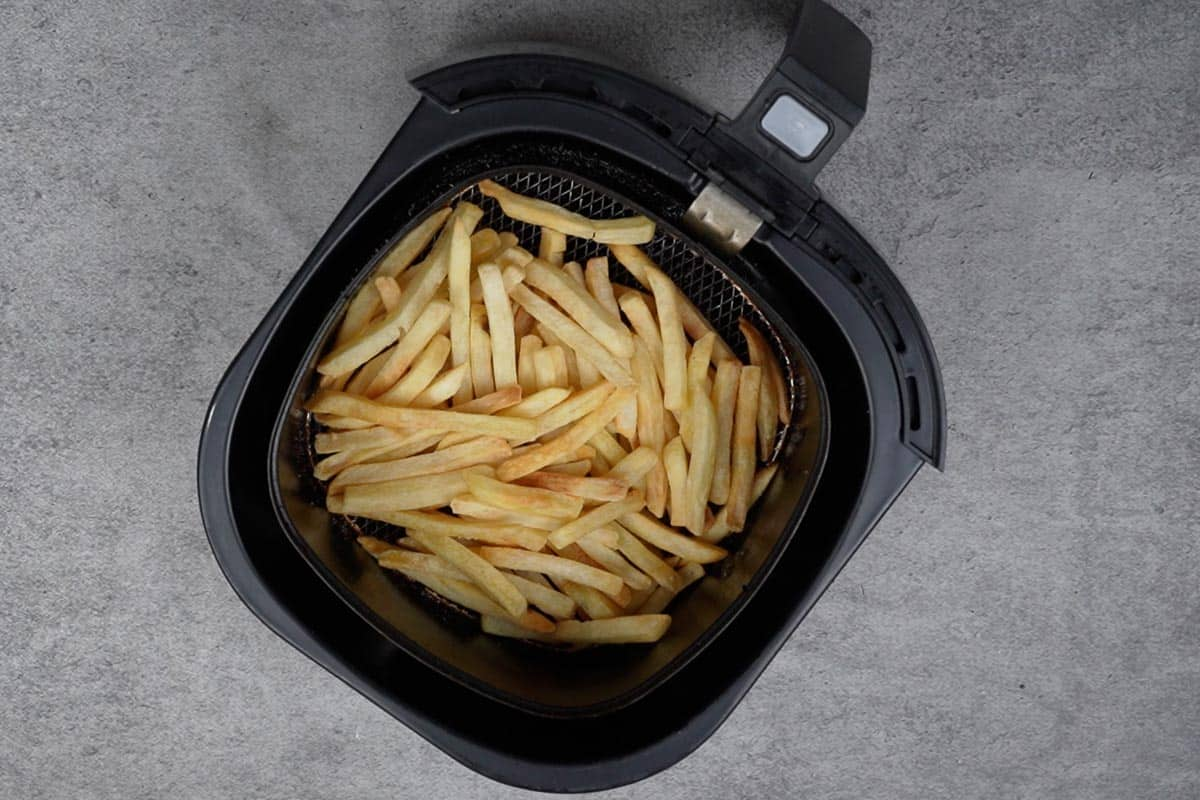 Ready air fryer frozen French fries.