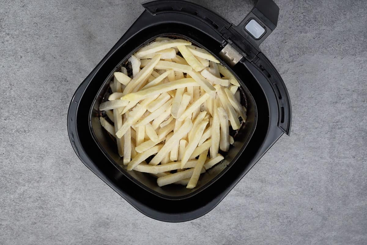 Fries sprayed with oil.