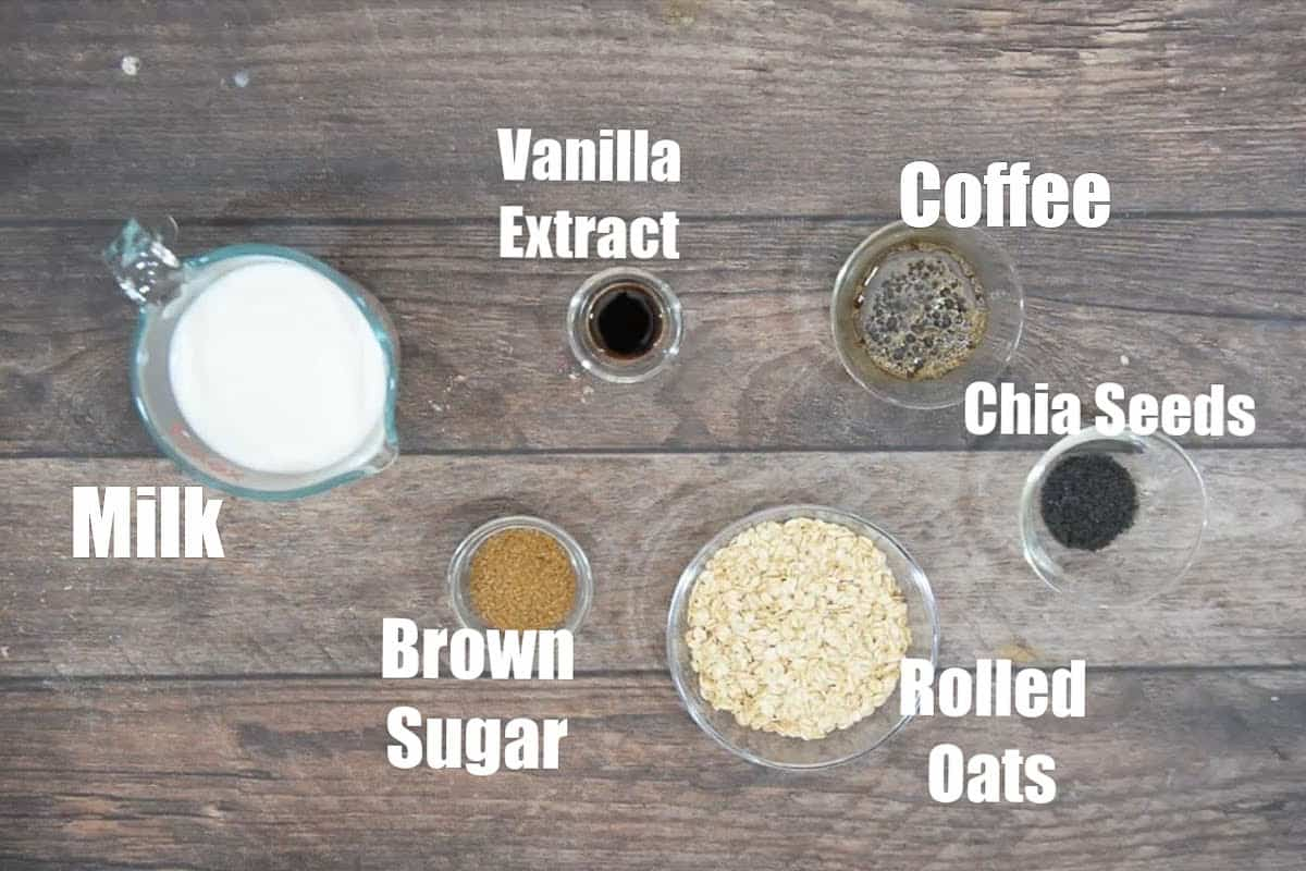 Coffee overnight oats ingredients.
