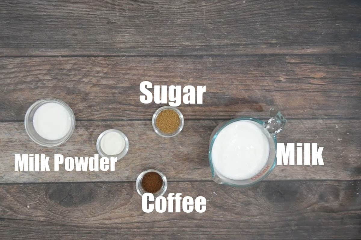 Cold coffee ingredients.