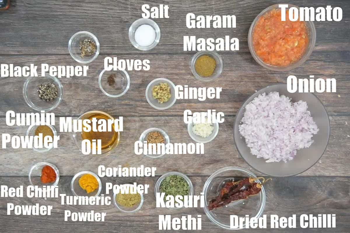 Dhaba style chicken curry ingredients.