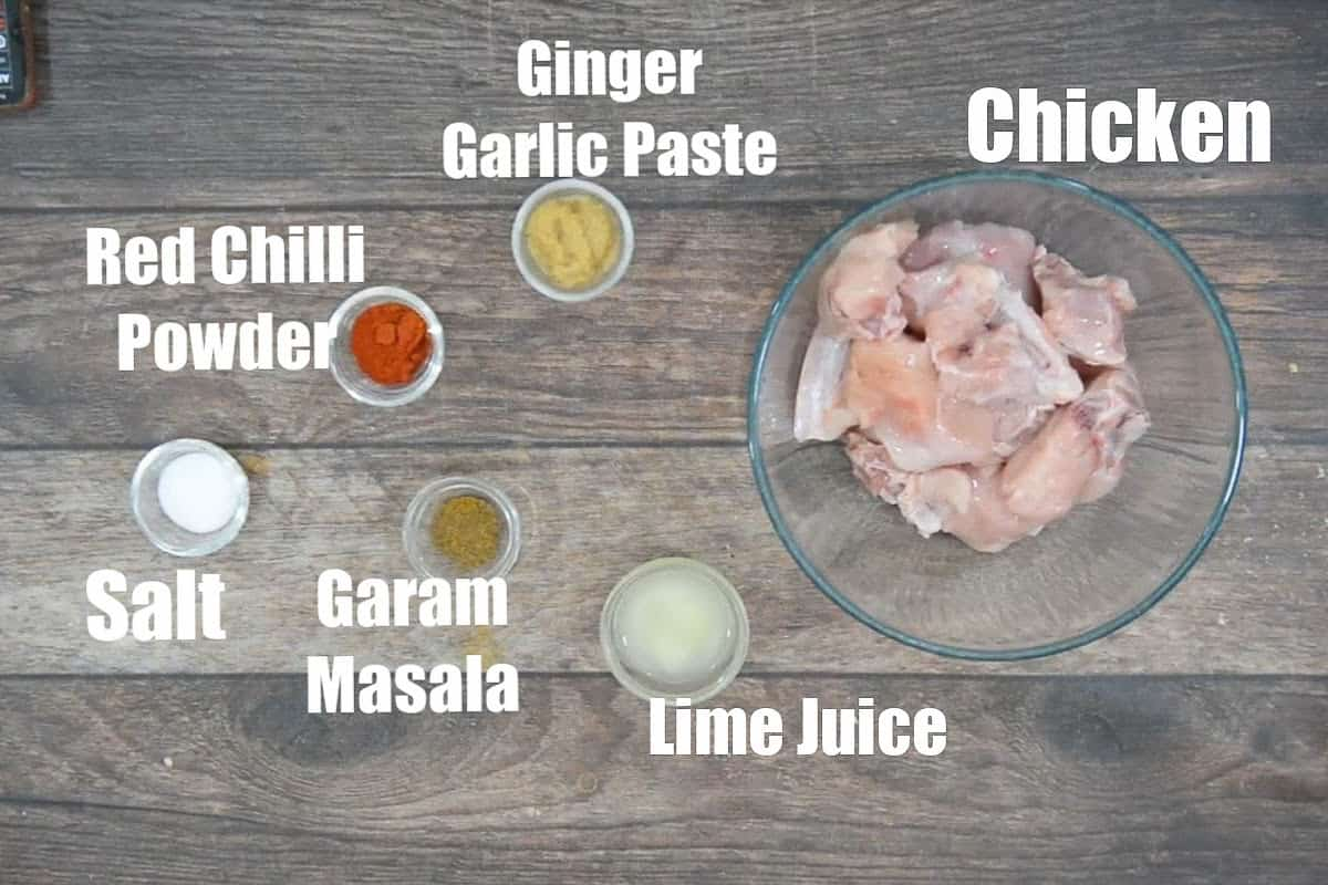 Dhaba chicken curry marinade ingredients.