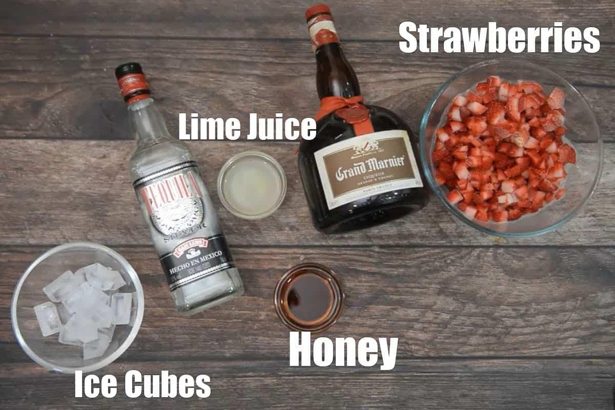 Strawberry margarita ingredients.