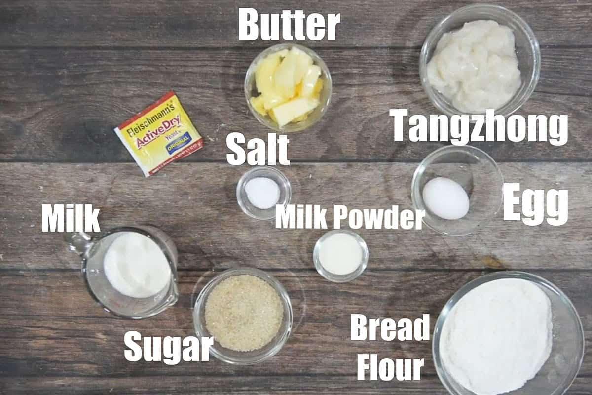 Hokkaido milk bread ingredients.
