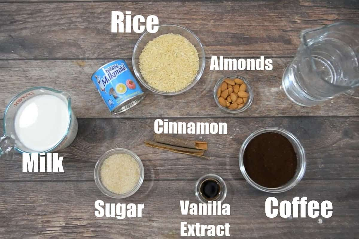 Horchata coffee ingredients.