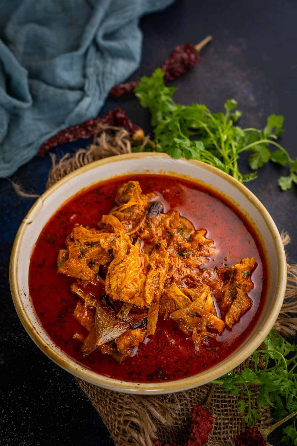 Laal Maas served in a bowl.