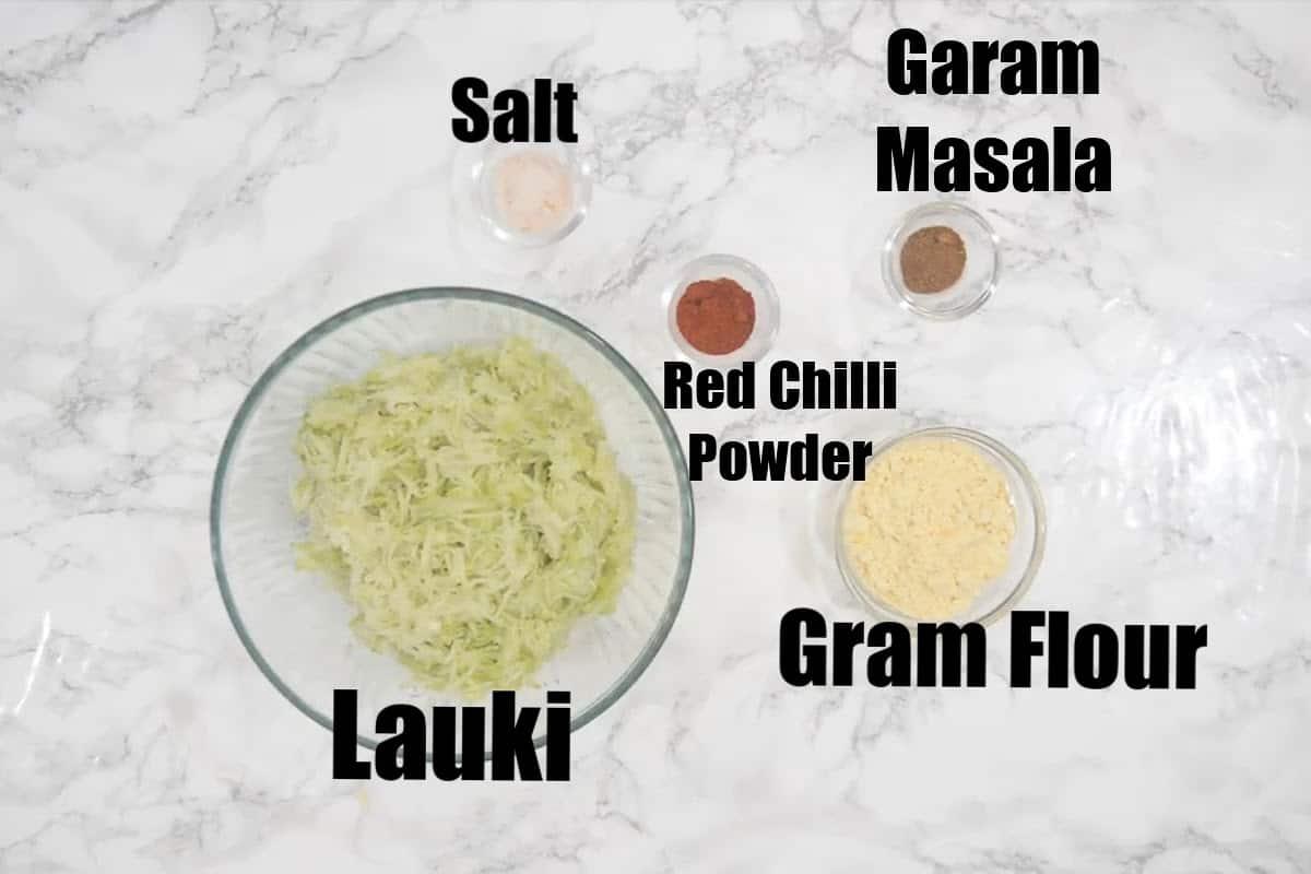 Lauki kofta ingredients.